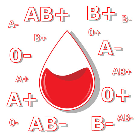 poster for blood donation, four hearts and drop isolated on the white background. square vector illustration