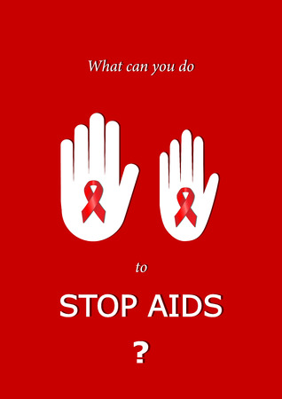 man and woman hands with aids ribbons for stop virus, vertical red and white vector illustration Illustration