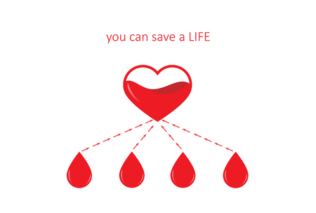 poster for blood donation, four drops and  heart isolated on the white background, horizontal vector illustration