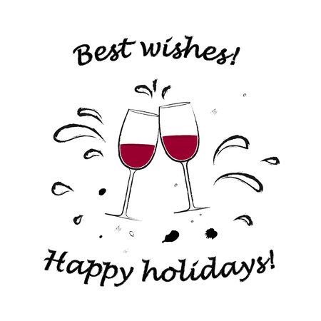 two glasses with red wine cheers and best wishes text isolated on the white background square vector illustration