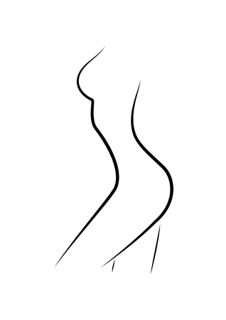 beautiful woman figure side view, outline style, isolated on the white background, vertical vector illustration  일러스트