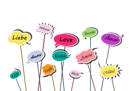 multicolor speech bubbles with love word in various European languages isolated on the white background, horizontal vector illustration