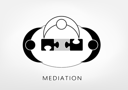 mediator and two persons add up puzzle pieces on the light grey background, top view, vector illustration, horizontal