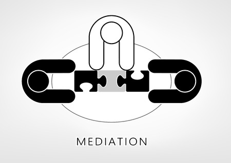 mediator and two persons add up puzzle pieces on the light grey background. flat style, top view, vector illustration, horizontal Illustration