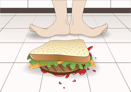 the sandwich fell to the floor top down, horizontal vector illustration 向量圖像
