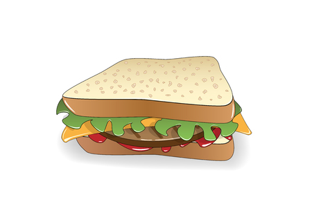 appetizing sandwich isolated on the white background, horizontal vector illustration Vettoriali