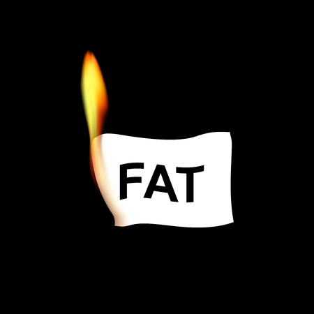 realistik paper with fat word in flame isolated on the black background, square vector illustration 向量圖像