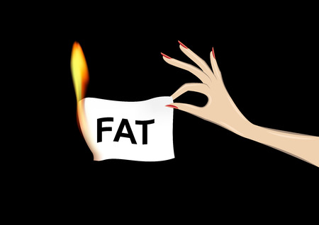 womans hand holding a paper with fat word in flame isolated on the black background, horizontal vector illustration