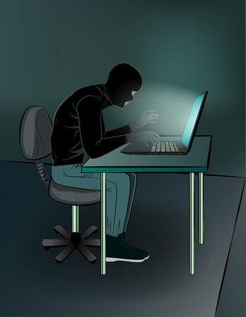 hacker sitting at the laptops in the room, vertical vector illustration