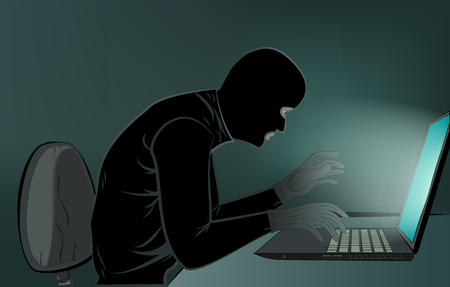hacker in black clothis sitting at the laptops in the room, close-up, vertical vector illustration 向量圖像