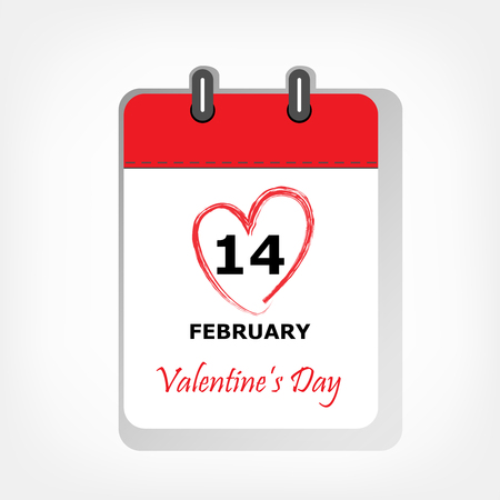 calendar sheet with 14 february Valentines day date circled in red heart shape, square vector illustration