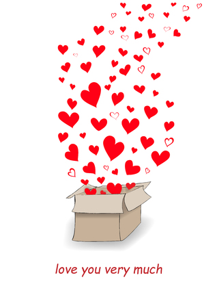 red hearts  fly out of the mailbox isolated on the white background, vertical vector illustration