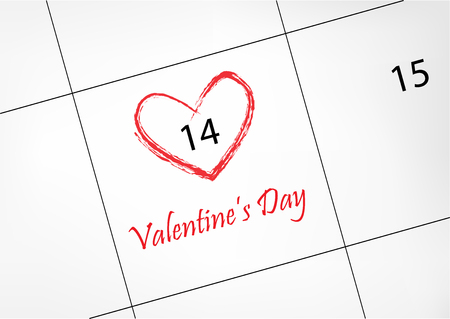 calendar with 14 february Valentines day date circled in red heart shape, horizontal vector illustration
