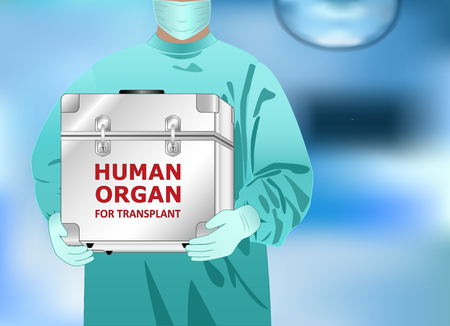 doctor holds in hands box with human organ for transplant, horizontal vector illustration