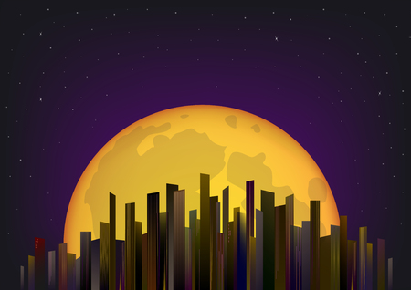 skyscrapers on the background of the full moon and night sky, horizontal vector illustration