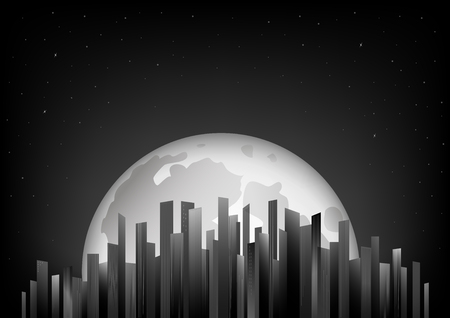 black and white skyscrapers on the background of the full moon and night sky, horizontal vector illustration