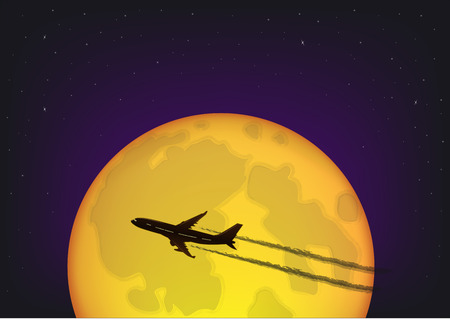 silhouette of the plane flying against the background of the full moon and the starry night sky, horizontal vector illustration Vettoriali