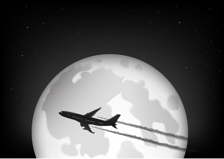black and white silhouette of the plane flying against the background of the full moon and the starry night sky, horizontal vector illustration Vettoriali