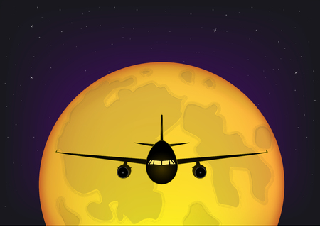 airplane flying against the background of the full moon and the starry night sky, horizontal vector illustration