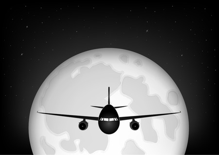 black snd white airplane flying against the background of the full moon and the starry night sky, horizontal vector illustration