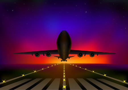 airplane flying against the background of the starry night sky, horizontal vector illustration  イラスト・ベクター素材