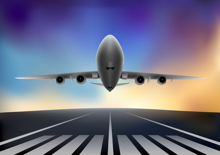 airplane flying against the background of the colored sky, horizontal vector illustration