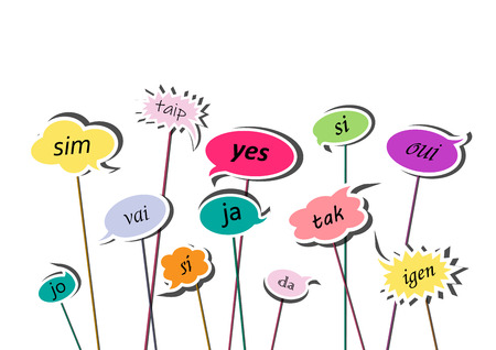 multicolor speech bubbles with yes word in different languages of Europe,  isolated on the white background, horizontal vector illustration Illustration