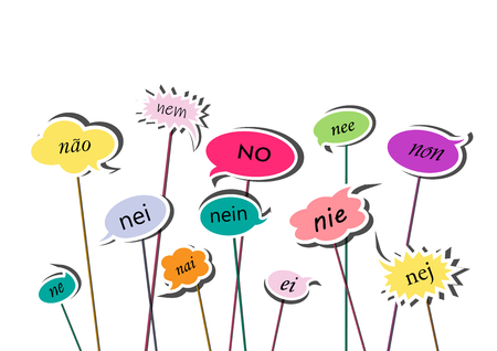 multicolor speech bubbles with no word in different European  isolated on the white background, horizontal vector illustration