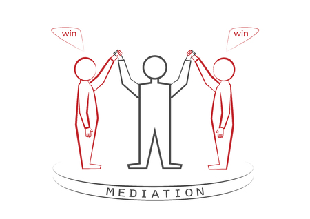mediator and two persons isolated on the white background, winner - winner principle, win - win, front view, vector illustration, horizontal Çizim