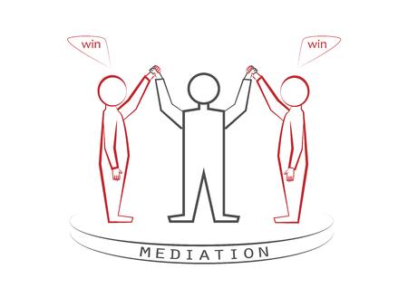 Mediator und zwei Personen isoliert auf weißem Hintergrund, Gewinner - Gewinner-Prinzip, Win - Win, Vorderansicht, Vektorillustration, horizontal