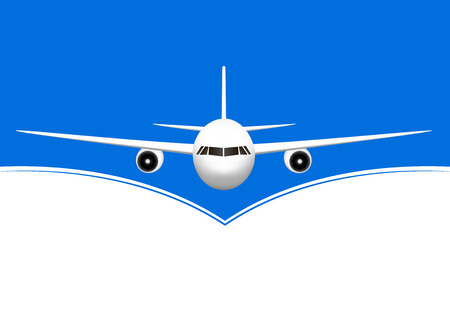 white airplane flying against the blue and white background, horizontal vector illustration