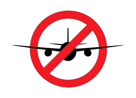 airplane  silhouette  in the prohibition sign, front view, isolated on the white background, horizontal vector illustration Illustration