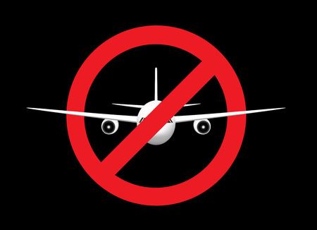 white airplane in the prohibition sign, front view, isolated on the black background, horizontal vector illustration