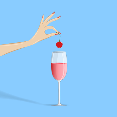 womans hand puts a cherry in a cocktail, isolated on the blue background, square vector illustration