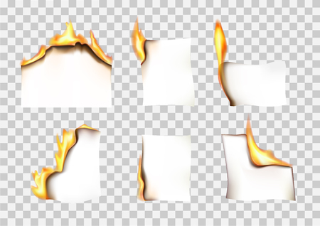 set of paper pieces burning in fire on a transparent background vector illustration