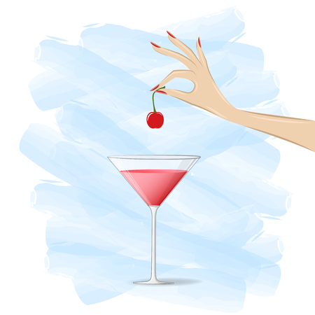 womans hand puts a cherry in a cocktail on the white and blue background, square vector illustration Illustration
