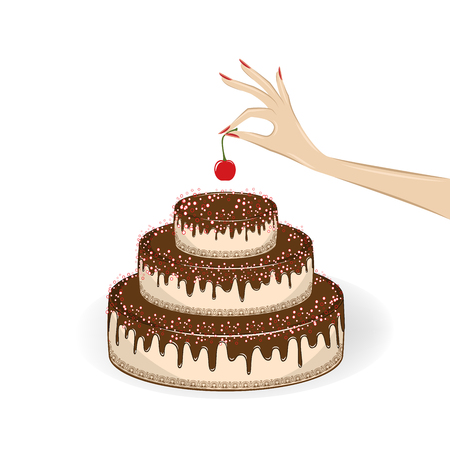 womans hand puts a cherry on top of a cake, isolated on the white background, square vector illustration Illustration