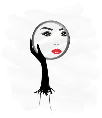 beautiful woman face, reflaction in a round mirror, that she holds in her hand, vertical vector illustration Illustration