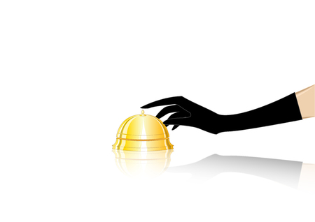 womans hand in a black glove rings the table bell at the reception, isolated on a white background, horizontal  vector illustration