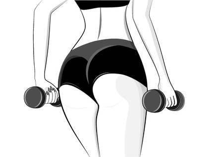 outline style woman athlete with dumbbells in her hands stands back close-up, isolated on a white background horizontal vector illustration