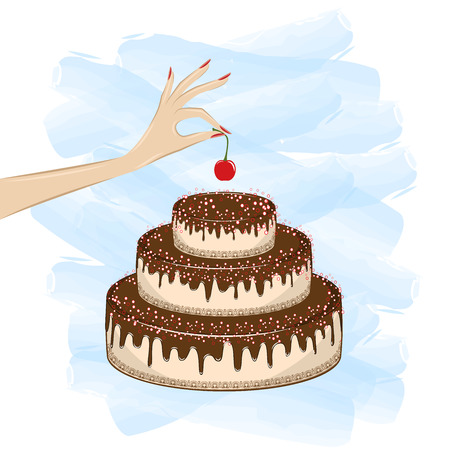 womans hand puts a cherry on top of a cake on the white blue background, square vector illustration