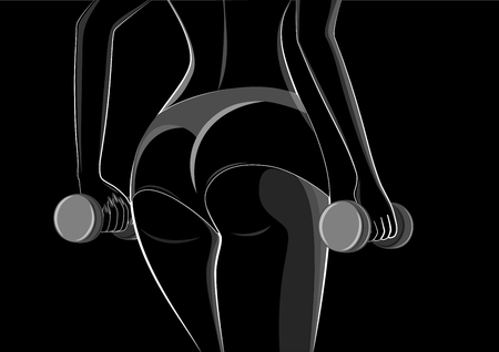 outline style woman athlete with dumbbells in her hands stands back close-up, isolated on a black background horizontal vector illustration
