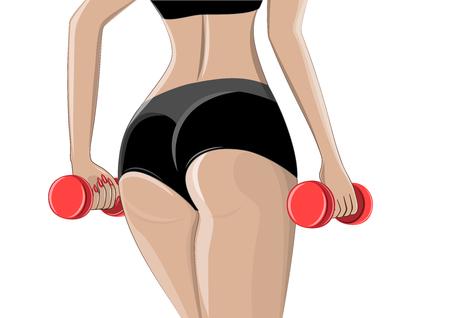 mujer atleta con pesas en sus manos se encuentra en primer plano, aislado en una ilustración de vector horizontal de fondo blanco