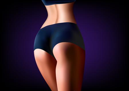 Athlète femme réaliste recule en gros plan, sur une illustration vectorielle horizontale de fond bleu foncé Vecteurs