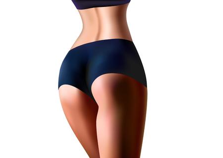 realistische Sportlerin steht zurück Nahaufnahme, isoliert auf einer horizontalen Vektorillustration des weißen Hintergrunds