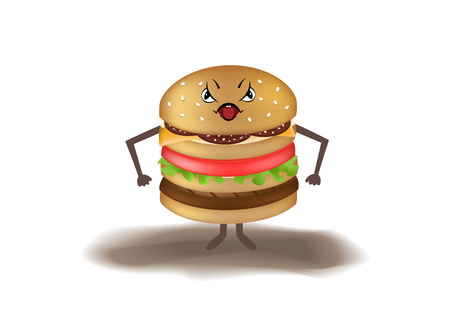angry cartoon burger isolated on a white background, horizontal vector illustration Illustration