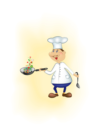 cartoon chef throws up sliced pieces of vegetables in a pan on a yellow background, vertical vector illustration