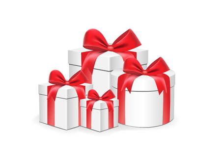 white gift boxes different shapes with red ribbons isolated on a white background vector illustration