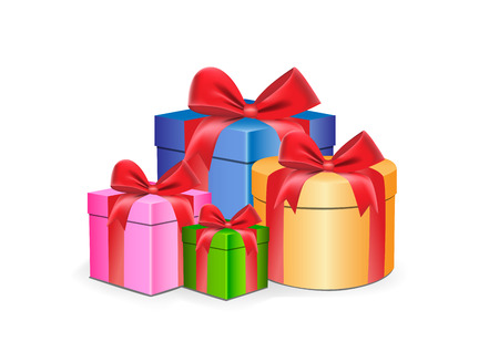 multi-colored gift boxes different shapes with red ribbons isolated on a white background vector illustration Illustration