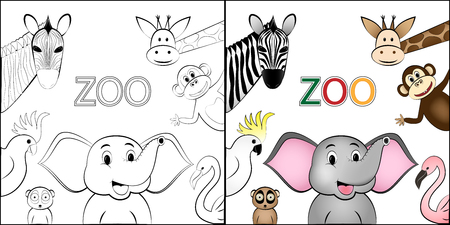 coloring book, different cartoon wild happy animals are located around the space for text, isolated on a white background square vector illustration